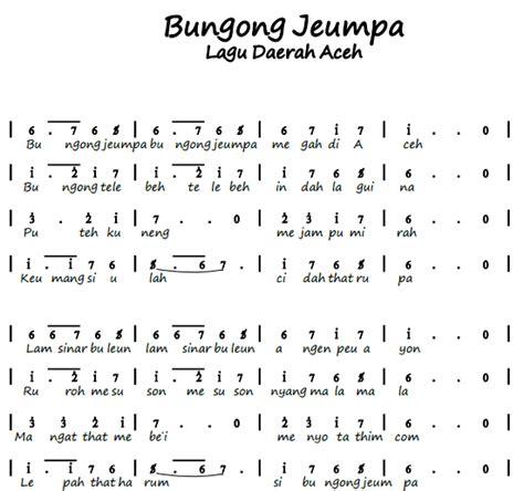 not balok jali jali not angka pianika lagu bungong jeumpa