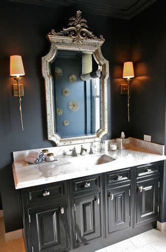 elegant bathroom  black walls paint color silver