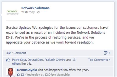 network solutions   dns  email outages