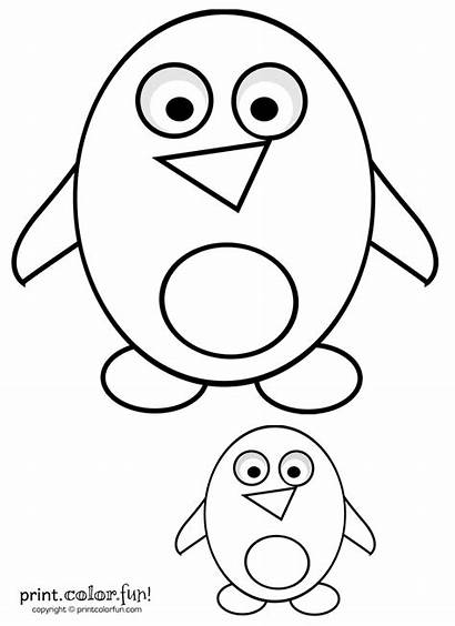 Coloring Cartoon Penguins Pages Penguin Template Printable