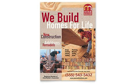 home builder contractor flyer ad template word