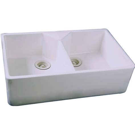 white apron front sink shop barclay 19 5 in x 31 5 in white double basin fireclay