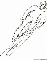 Ski Jumper Coloring Skiing Pages Olympic sketch template
