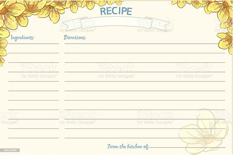 fashioned recipe card template floral stock vector art