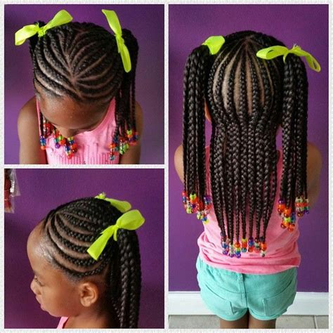 cornrows in ponytails little girl protective hairstyle