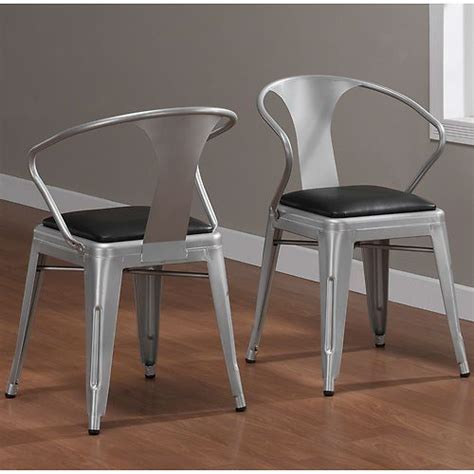 industrial padded seat metal silver stackable dining