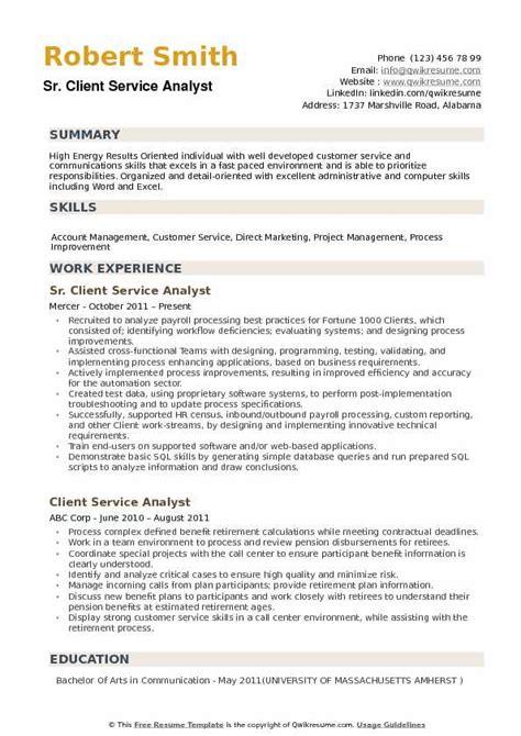 Customer Service Analyst Resume by Client Service Resume Vvengelbert Nl