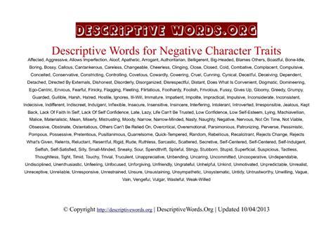 Descriptive Words For Negative Character Traits