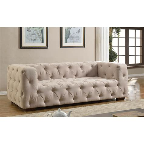 Fabric Loveseats by Luxurious Modern Large Tufted Linen Fabric Sofa Ebay