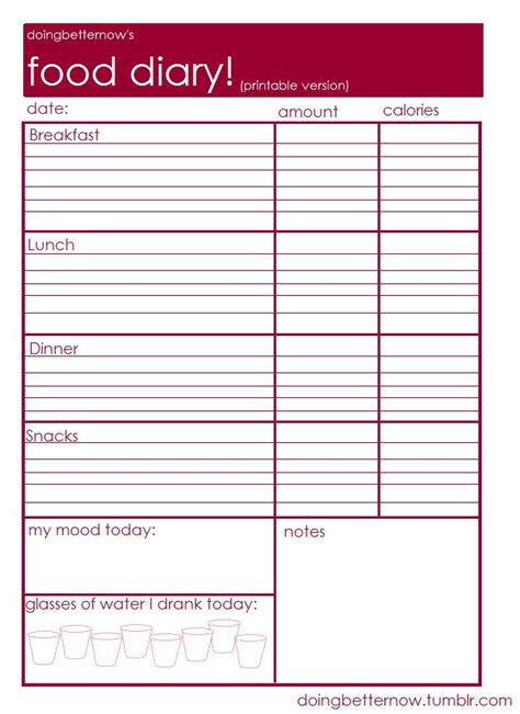 free food journal template food diary printable healthy living pinterest food