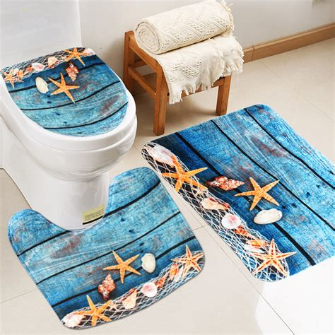 pcs bathroom  slip pedestal rug lid toilet cover