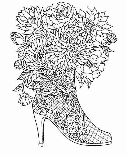 Coloring Pages Adult Boot Heel Flowers Adults