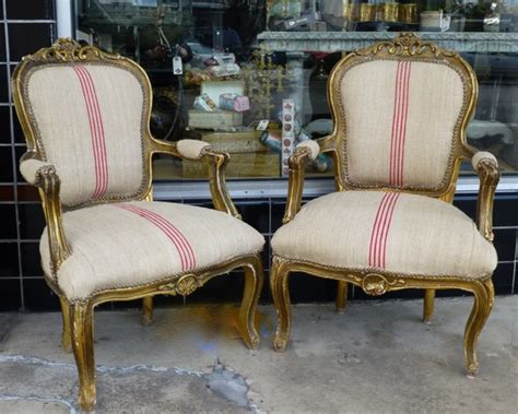 Pair French Arm Chairs In Red Stripe French Linen