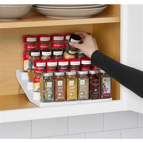 spice cabinet organizer shelf youcopia spicesteps 4 tier cabinet spice rack organizer