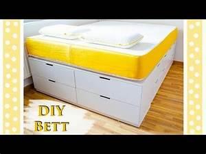 Diy Bett Mit Stauraum : ikea hack bett bauen einfaches diy tutorial f r ein plattform bett mit viel stauraum ~ Pilothousefishingboats.com Haus und Dekorationen