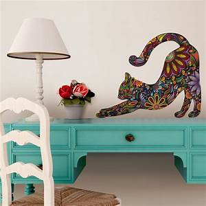 stretching cat wall sticker floral cat decal small as With cat wall decals