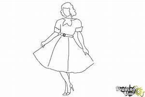 How to Draw a Girl In a Dress Easy - DrawingNow