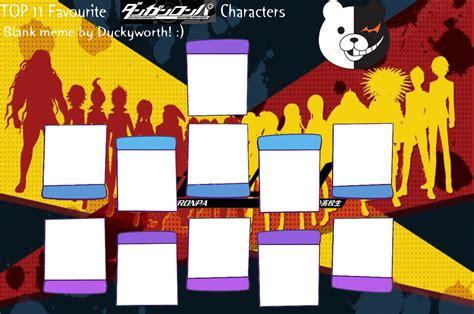 Top 11 Favourite Danganronpa Characters Blank Meme By