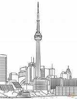 Cn Tower Coloring Toronto Printable Drawing Canada Crafts Paper London Dot Creative Clipground Categories sketch template