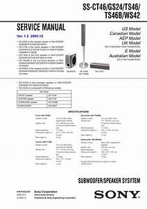 Sony Ssts46 Service Manual