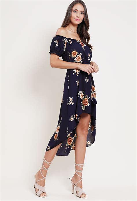 12760 Low Shoulder Flower Dress belted high low floral the shoulder dress shop