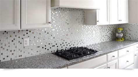 Glass Tile Backsplash Images : Modern White Glass Metal Kitchen Backsplash Tile