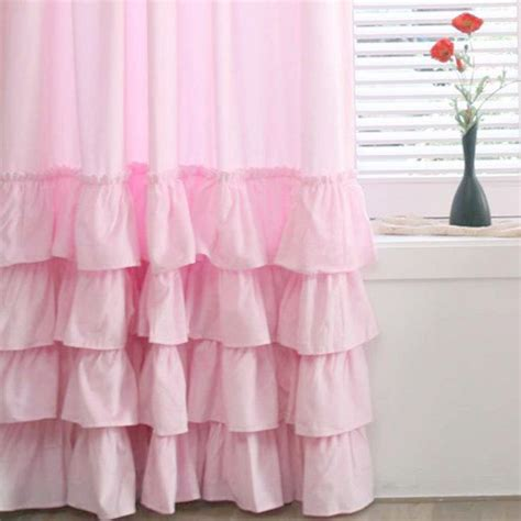 Ruffled Curtains Pink by White Ruffle Curtain