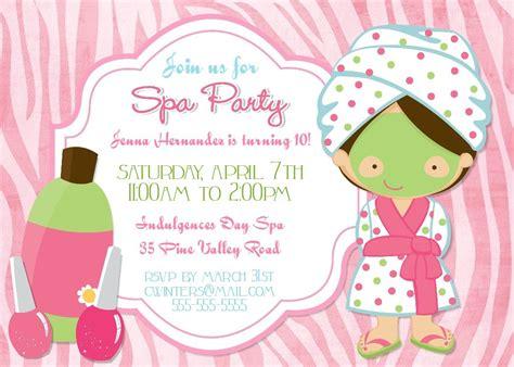 spa party invitation templates