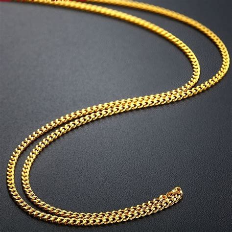 17.7inch Fine Solid 999 24k Yellow Gold Necklace Men Women