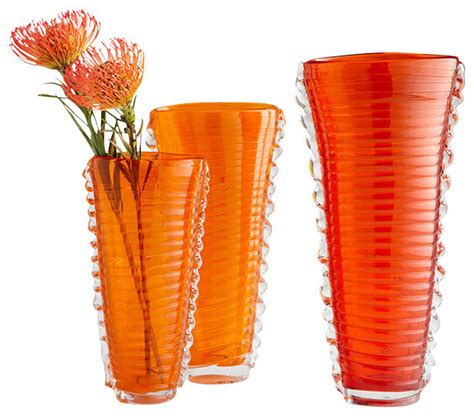 Orange Vases Accessories by Dollie Vase Small Orange And Clear Contemporary