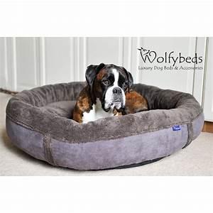 slate grey fleece round luxury dog bed medium and large With luxury large dog beds