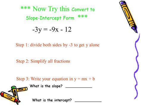 Practice Converting Linear Equations Into Slopeintercept