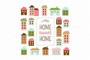 Bilder Home Sweet Home : home sweet home vector set patterns on creative market ~ Sanjose-hotels-ca.com Haus und Dekorationen