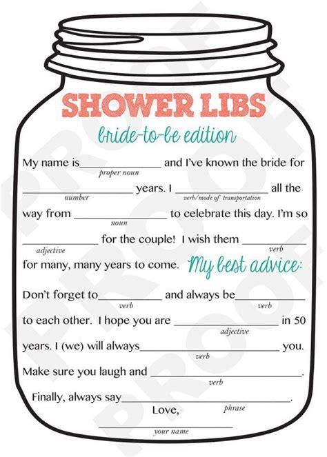bridal shower game mason jar theme shower game mad libs