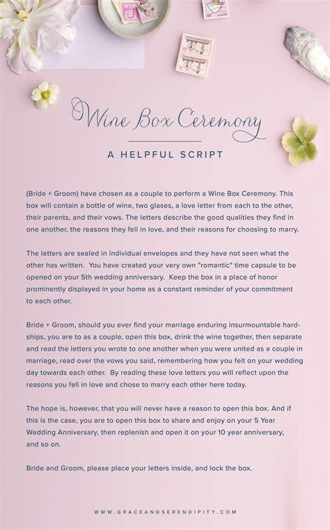unique ceremony ideas wine box ceremony script gs
