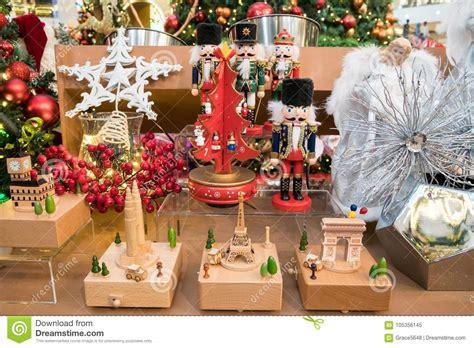 variety types  christmas decoration displayed