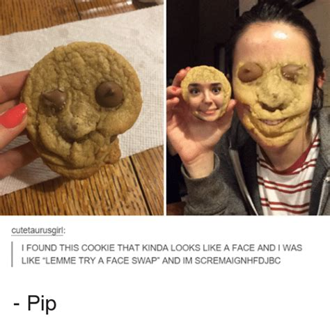 Face Swap Memes - cutetaurusgirl i found this cookie that kinda looks like a face and l was like lemme try a face
