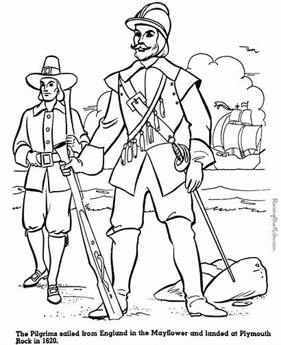 Pilgrims Mayflower Coloring Thanksgiving Pages History Sheets