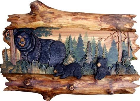 rustic mischievous bear cub wood art