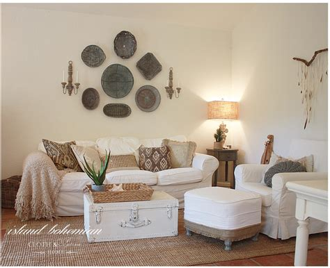 white washed wood island bohemian summer decor cloth and patina