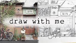 draw with me a japan's coffee shop!(speed drawing) - YouTube