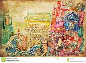 Oriental Fan Designs Japan Art And Culture Background Collage Illustration