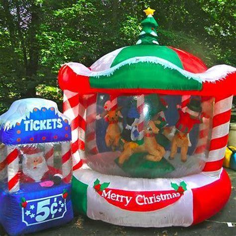 ft lit rotating animated christmas carousel airblown