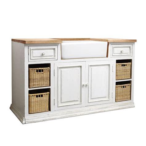 cuisine classique chic meuble bas de cuisine avec évier en manguier blanc l 140