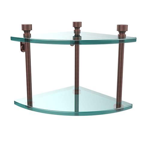 allied brass ft  ca double corner glass shelf antique