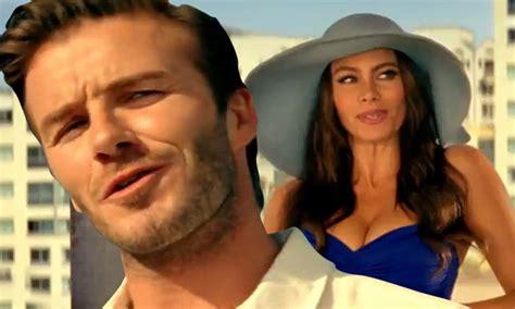 sofia vergara first commercial david beckham and sofia vergara in swimsuit debut their