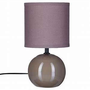 Lampe Boule à Poser : lampe poser c ramique boule 25cm taupe ~ Dailycaller-alerts.com Idées de Décoration