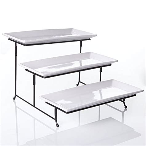 tier rectangular serving platter  tiered cake tray stand food server display plate rack