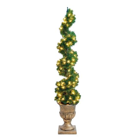home accents holiday 6 ft christmas spiral potted artificial tree with 150 clear lights w spr