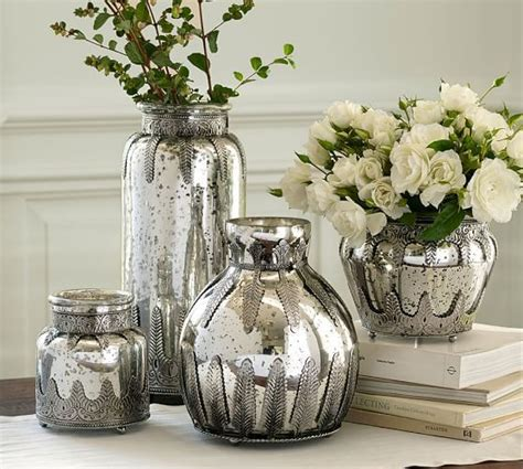 madeline mercury glass metal vases pottery barn